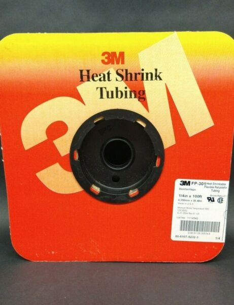 3M FP 301 1 4 HEAT SHRINK FLEXIBLE TUBING 100ft ROLL BLACK 80 6107 5232 3 NOS $29.99