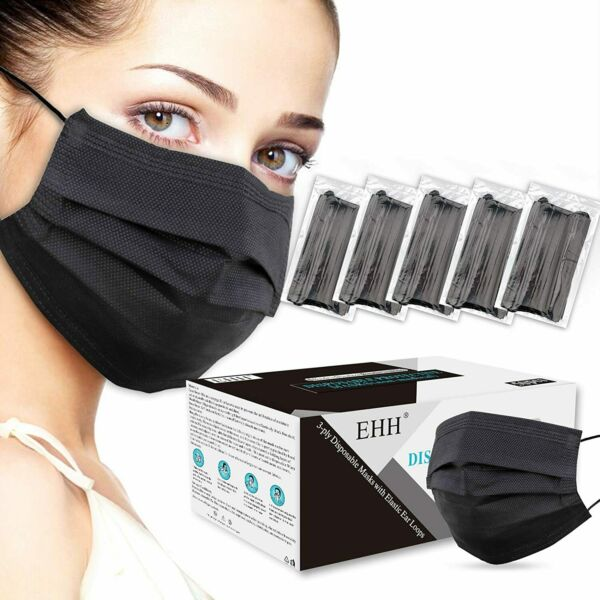 50 100 PCS Black Disposable Face Mask Non Medical 3 Ply Earloop Dust Cover Masks