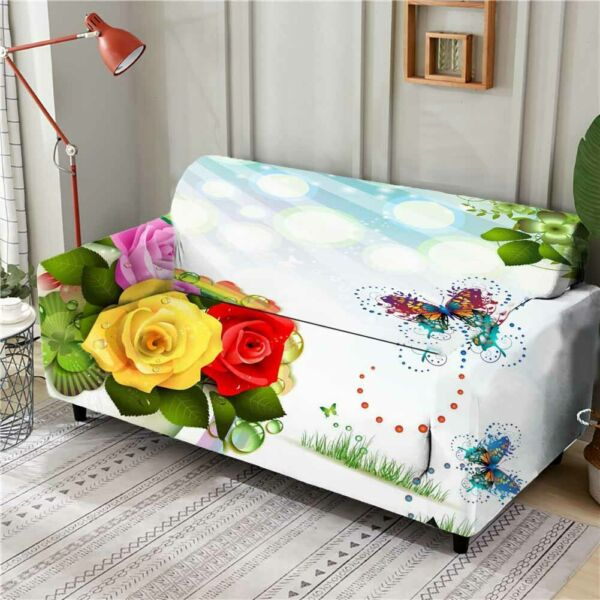Chrysanthemum Bud Stretch Sofa Cover Lounge Couch Slipcover Recliner Protector AU $43.11
