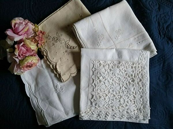 ANTIQUE VINTAGE LOT OF 4 LINEN TABLECLOTHS LACE EMBROIDERY MADEIRA