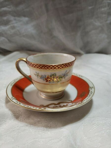 M K Tea Cup And Saucer Hand Painted Japan