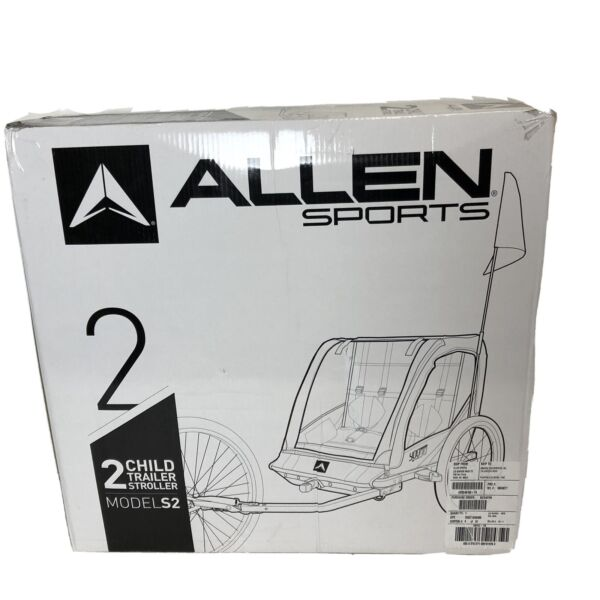 Allen Sports Steel 2 Child Bicycle Trailer and Stroller S2 Yellow $122.95