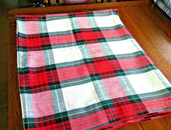 Holidays Linen Tablecloths Dinner Table Cover Plaid Check Gold Thread Christmas