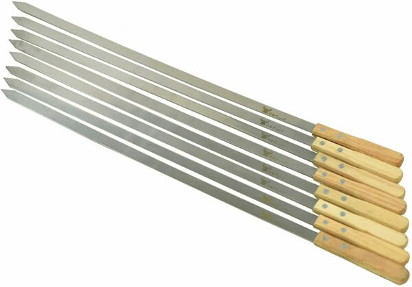 25619 23 Inch Long 5 8 Inch Wide 2mm Thin Stainless Steel BBQ skewers 8 pc