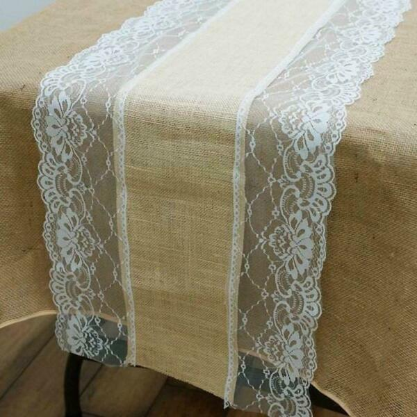 5 pcs LACE BURLAP TABLE RUNNER 14x108quot; Rustic Natural Country Wedding Catering