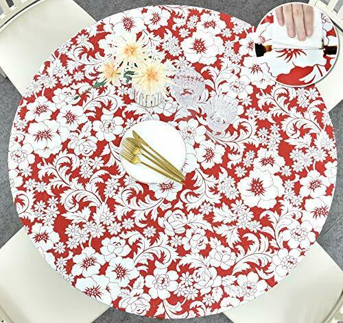 Fitted Table Cloth Round 36quot; to 44quot; Elastic Edge Fitted Vinyl Table Cover Maple