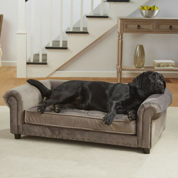 Pet Sofa Dog Couch Lounger Grey Velvet Tufted X Large Manchester Dogs 44.5x27.5 $277.10