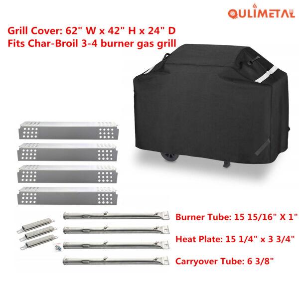 Grill Cover Burner Heat Plates Carryover Tube for Charbroil 463241113 463449914