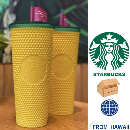 🍍STUDDED PINEAPPLE matte yellow Tumbler 24oz Starbucks Hawaii Exclusive 2020