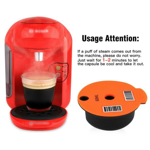 Reusable PP Coffee Capsule Pod Pods Cups amp; Slicone Lid for Bosch Tassimo Machine