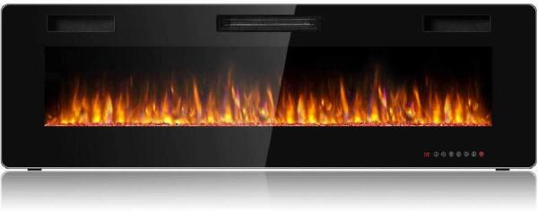Tangkula 60 Inches Recessed Electric Fireplace in Wall amp; Wall Mounted Electric