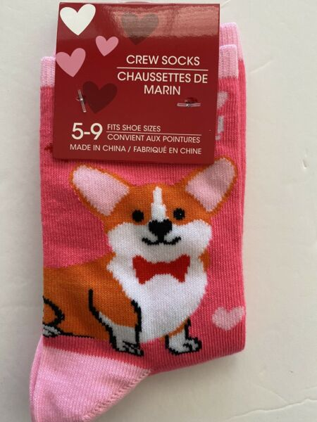 NEW Corgi Dog Pink Socks Hearts Valentine's Day Crew Women's Pembroke Welsh $9.99