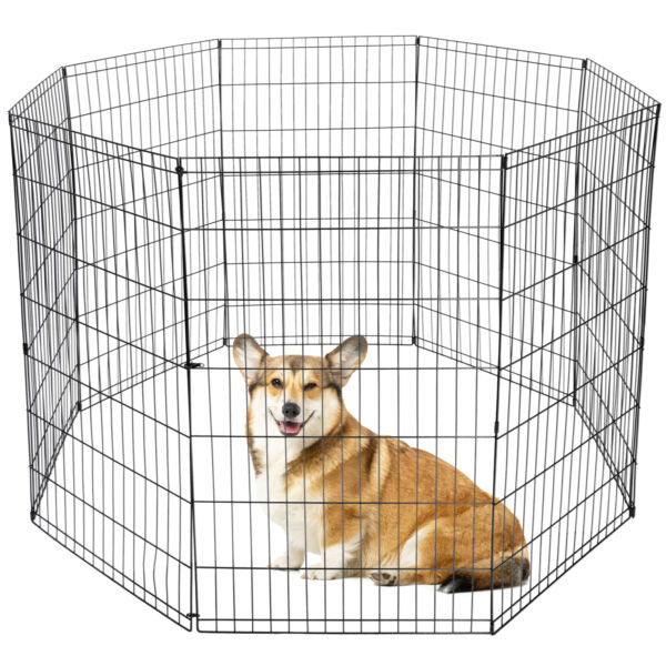 42 Inch 8 Panels Tall Dog Playpen Large Crate Fence Pet Play Pen Exercise Cage