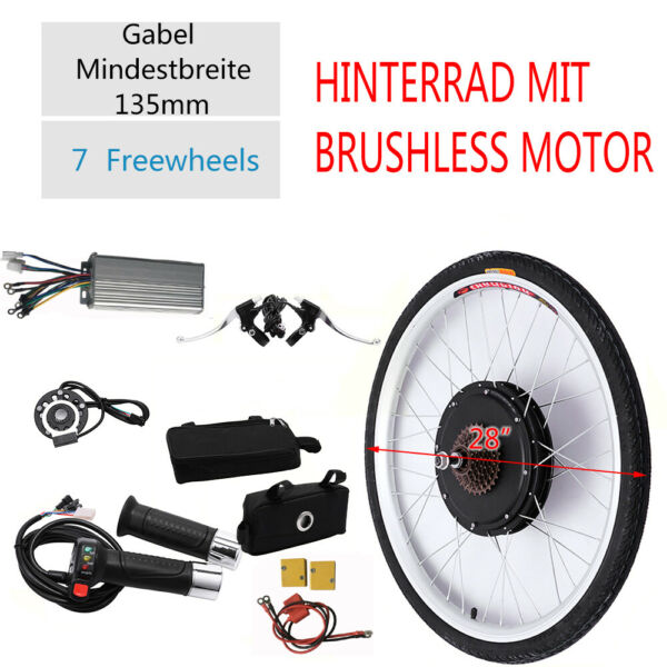 28quot; 48V 1KW E bike Bike Rear Wheel Electric Bicycle Hub Motor Conversion Kit $214.02