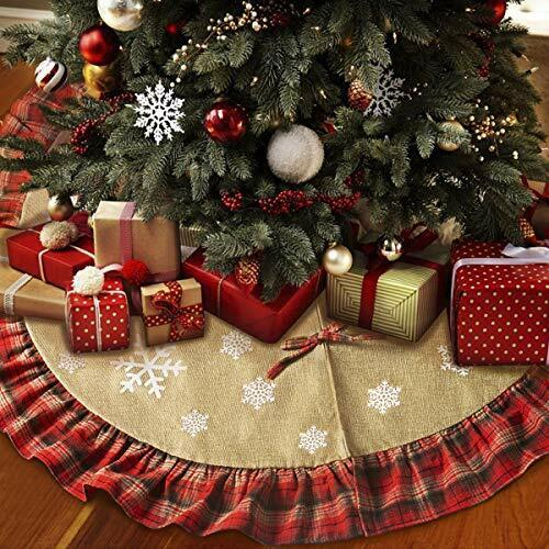 Yidarton Christmas Tree Skirt 48 inches Xmas Linen Burlap Tree Skirt White Snow
