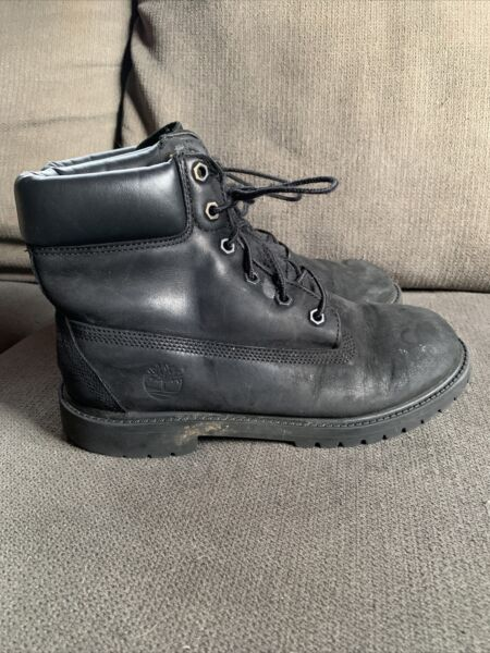 Timberland Boys Size 6 Black Leather 6in Classic Lace Up Ankle Chukka Boot $28.00