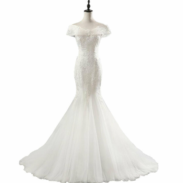 Sequined Lace Wedding Dress Boat Neck Beach Mermaid Gown Bride Dresses US 8 24W