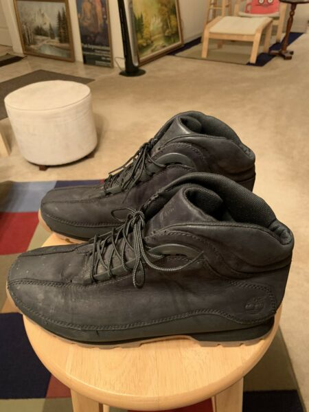 Timberland Black US10 Mens Leather Mid Chukka Gumsole Boots Shoes $74.90