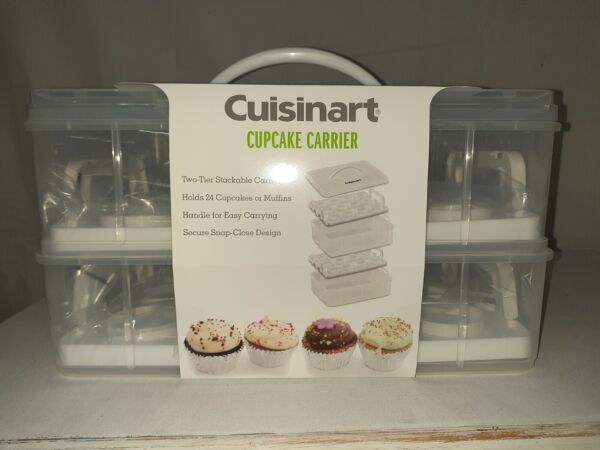 Cuisinart Cupcake Carrier 2 tiered handled stackable trays holds 24 space saver