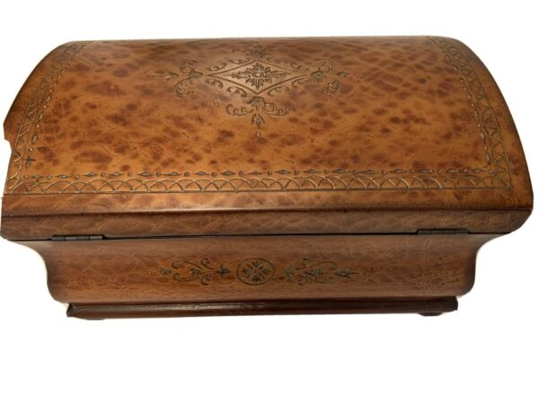 Vintage Extra Large Wood Embossed Stamped Design Jewelry and Watch Storage Box
