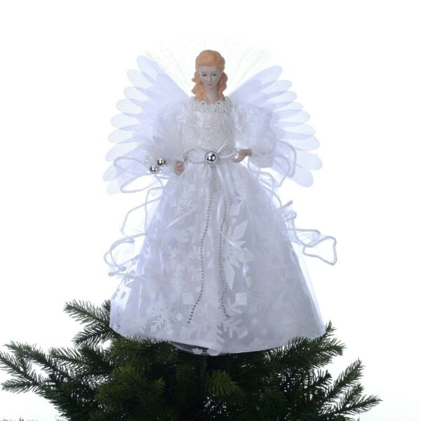 Holiday Time 12 inch White Fiber Optic Angel Tree Topper $15.00