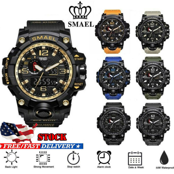 Smael Men Military Sport Quartz Analog Digital Shock and Waterproof Wrist Watch