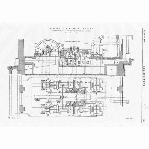 1905 Engineering 2x Antique Prints 1200hp Gas Blowing Engine amp; Electric Lathe GBP 14.95
