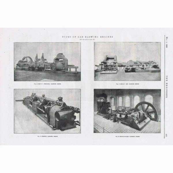 1905 Engineering 3x Antique Prints Types of Gas Blowing Engines GBP 14.95