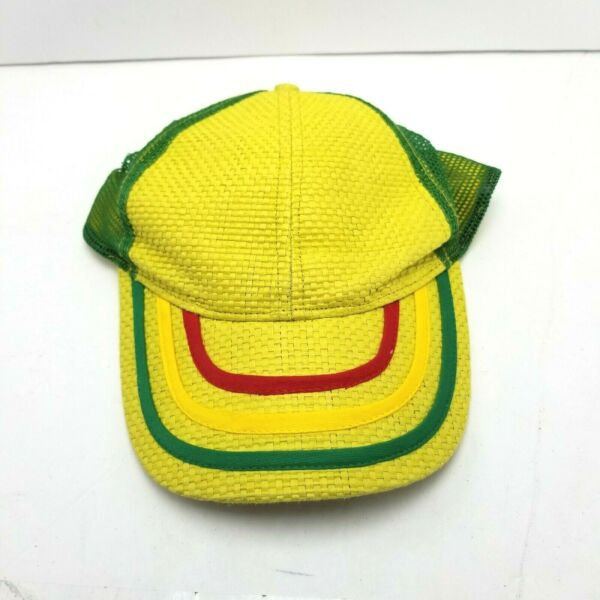 Carbon Hat Cap Yellow Adult Used Mesh Snapback Y1 $11.39