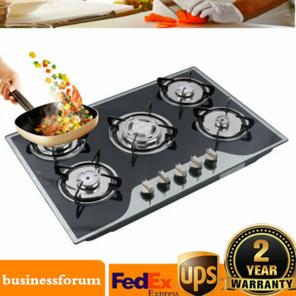 35.4quot; Cooktop Gas Stove Built in 5 Burner LPG NG Gas Cooking Easy to Clean USA