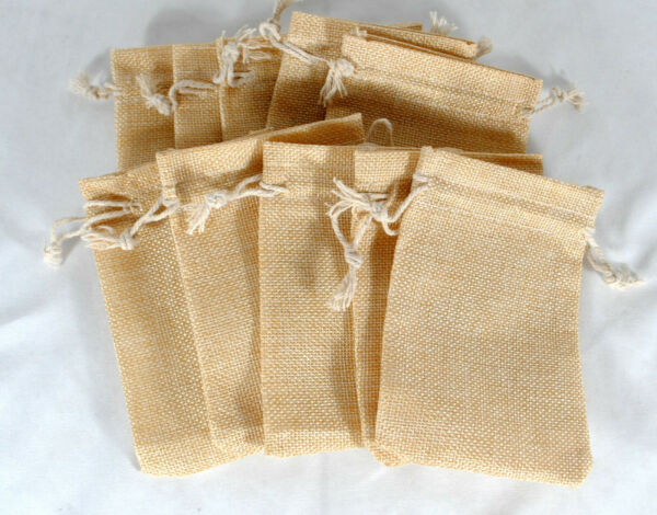 LOT OF 10 Linen Burlap Style Drawstring Pouch Wedding Party Favor Bags 5X4