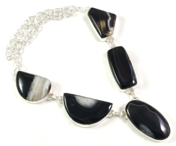 Natural Black Slice Agate Gemstone Handmade Silver Fashion Jewelry Necklace N 22