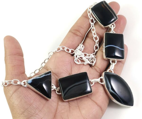 Black Slice Agate Gemstone Handmade Fashion Jewelry Silver Necklace N 125