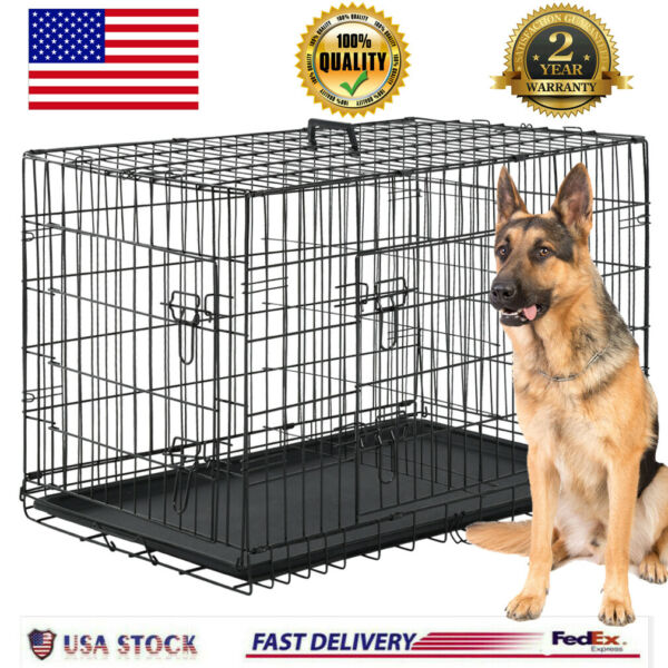 Extra Large Dog Crate Kennel 48quot; Folding Pet Cage Metal w 2 Doors amp;Tray XL XXL $97.88