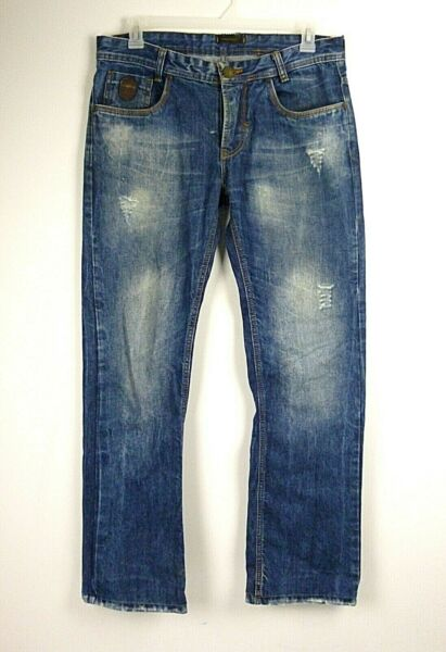 Dsquared2 Men#x27;s Jeans Straight Leg Distressed Size 38x34 Measures 36x30 Hemmed $52.49