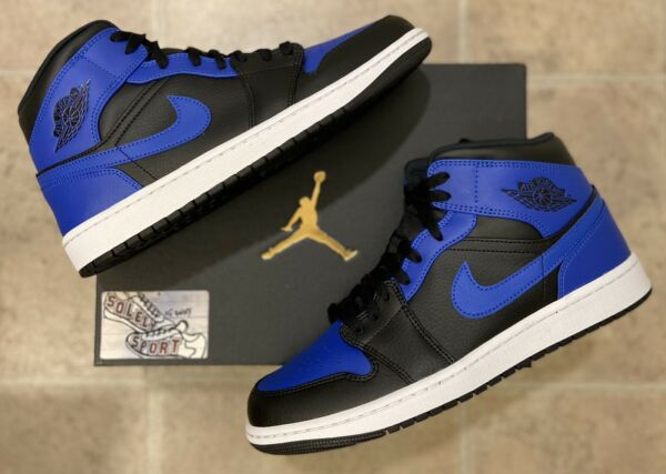 New Nike Air Jordan 1 Retro Mid Hyper Royal Blue Black 2020 Basketball Mens Size