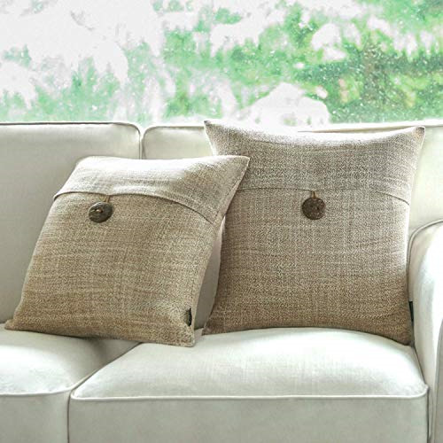 Phantoscope Throw Pillow Linen Cover Decorative 17quot; x 17quot; Premium Tan Button $0.99