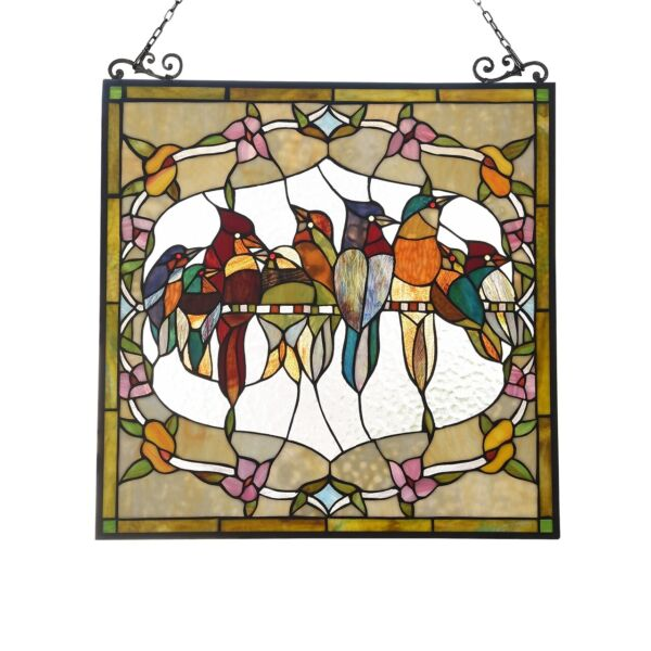 24quot; W x 25quot; H Stained Glass Window Panel Birds Floral Tiffany Style