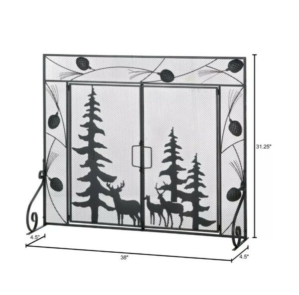 Fireplace Screen Woodland Silhouettes and Pine Cone Detailed Iron 38quot; x 4½quot; x 31