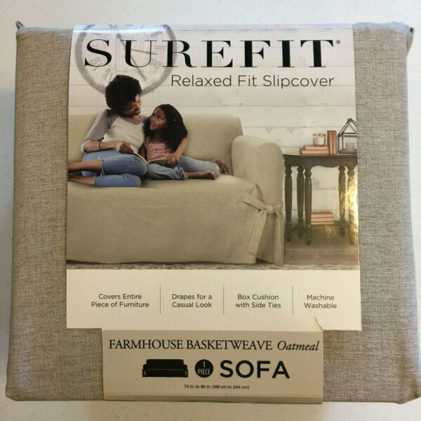Surefit Relaxed Fit Slipcover Farmhouse Basketweave Ivory Fits Sofa $64.95
