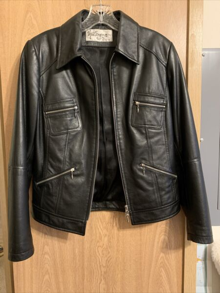 Women's Black Leather Jacket S M Purchased In Canada