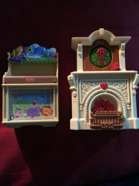 Fisher Price doll house light up fireplace and baby bench
