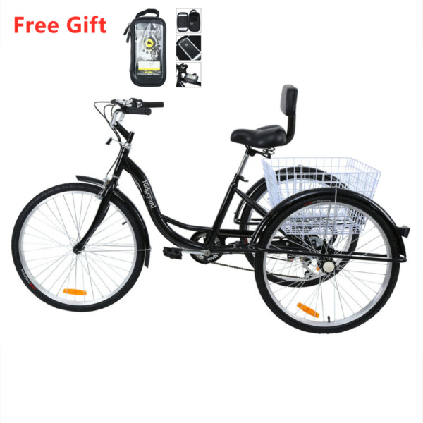 Ridgeyard 26#x27;#x27; 7 Speed Adult Tricycle Basket Trike Bike Bike Front Bag Black $242.39