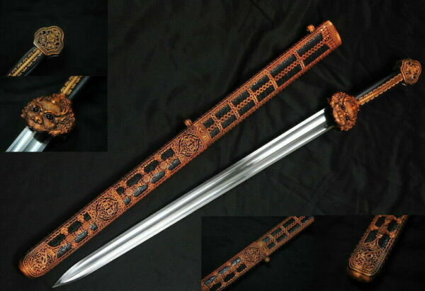 "38"" Dao Collection 65Mn Spring Steel Handmade Chinese Yong Lo Full Tang Sword $154.95"