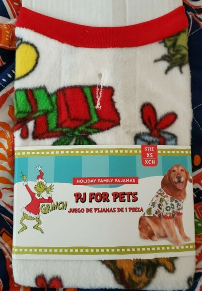 Dr. Seuss THE GRINCH PJ#x27;s Pet Dog Christmas Sweater Holiday X Small Winter White $9.50