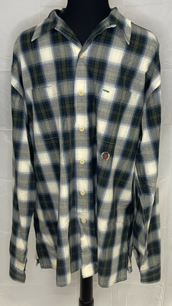 Tommy Hilfiger Mens XL Multicolor Plaid Long Sleeve Button Down Shirt $16.95