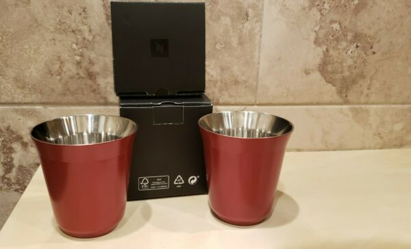 Nespresso Pixie Lungo Cherry Red Stainless Steel Cups Set of 2 NEW IN BOX