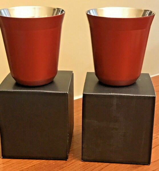 2 NEW Nespresso Pixie Lungo Cups Cherry Red 160 ml Stainless Discontinued fast