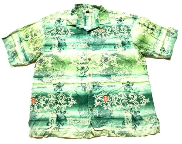 Tommy Bahama Mens Green Floral Dragon Button Front Silk Shirt Size Large $20.00