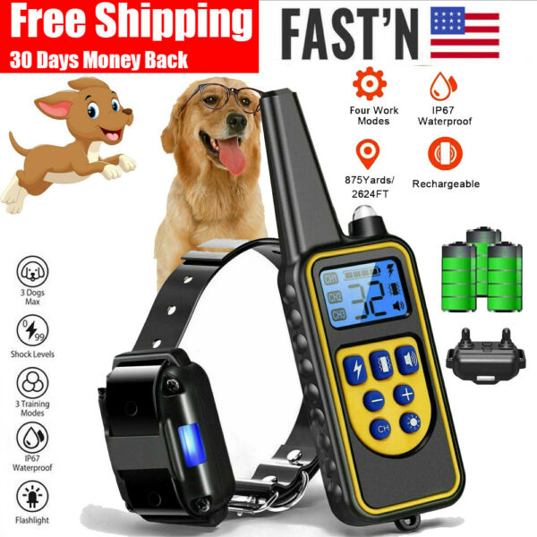 Waterproof Dog Shock Collar With Remote Electric for Large 875 Yard Pet Training $25.79